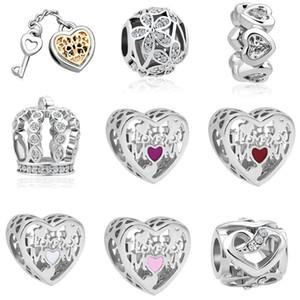 Boncuk Charms Asma Ücretsiz Kargo Adedi 20pcs Gümüş Anahtar Çiçek Aşk Taç Orijinal Pandora bilezik Takı DIY J022 sığacak