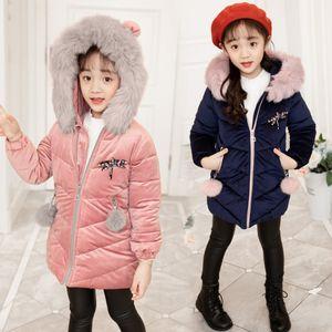 Libélula das meninas casaco broche childre inverno gola de pele falso capuz longo manga princesa outwear Crianças pompon zipper engrossar blusão A1235