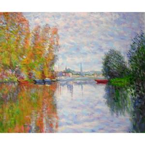 손으로 그린 캔버스 아트 클로드 모네 그림 벽 장식에 대 한 Argenteuil에서 세 느 강에서