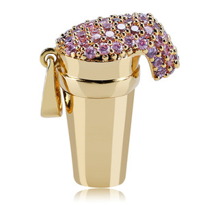 New Iced out Styrofoam Cup Collana con ciondolo Bling Cubic Zircone oro Uomo Donna Collana con catena Hip Hop