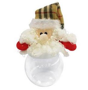 Noel Noel Baba Şeker Kavanozlar Şeffaf şeffaf Plastik Noel Top Şeker Kutusu Doldurulabilir Top Baubles Dekor Noel Ağacı Dekorasyon