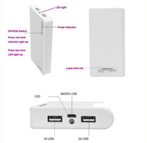 1Pc 6 X 18650 Battery Case Usb Charger 20000mAh Weldless Power Bank Battery Case Box Shell Dual Usb Output DIY (without battery)