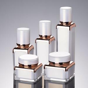 10PCS elegante quadratische Form Acryl Flasche Glas Lotion Pumpen-Flasche Pearl White Rose Gold Farbe Acrylsahneglas 30g 15ml 30ml