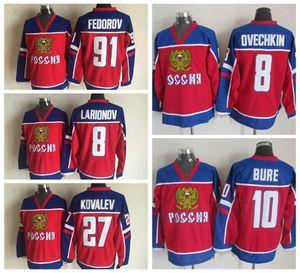 2002 팀 러시아 올림픽 8 Alexander Ovechkin 10 Pavel Bure 91 Sergei Fedorov 27 Alex Kovalev 8 Igor Larionov Hockey Jersey
