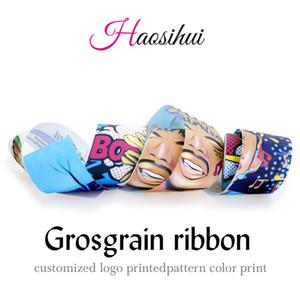 Livraison gratuite haosihui 10mm-75mm largeur nouvelle arrivée ruban personnalisé gros-grain conception ruban 10 yards / rouleau, Faire des arcs de cheveux, décoration du festival
