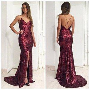 2018 Burgundy Pailletten Sexy Prom Kleider Spaghetti Strap Vorderseite High Side Split Mermaid Formale Abendkleider Sweep Zug
