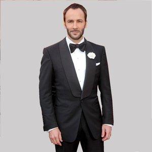 Slim Fit Damat smokin Groomsmen Siyah Düğün En İyi Man Suit Erkekler Suit Örgün Parti Wear özelleştirme