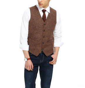 2018 British Country Style Farm Wedding Brown Wool Herringbone Tweed Vests Custom Made Groom's Suit Vest Slim Fit Wedding Vest Men Plus Size
