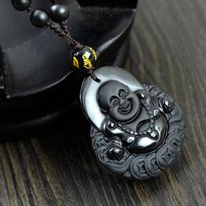 40x35mm Naturel Obsidian collier Mode Pierre Noire rire Bouddha pendentif Pour femmes hommes Vintage Pierre bijoux ornements