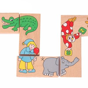 Blokları Tuğla Oyuncaklar 15 adet Hayvan Domino Bulmacalar Montessori Öğrenme Eğitim Ahşap Çocuk Oyuncakları Bulmacalar Set Oyunu Çocuklar için