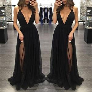 새로운 하이 사이드 스플릿 Tulle 댄스 파티 드레스 블랙 섹시한 깊은 V 목 긴 여자 스커트 정장 파티 이브닝 가운