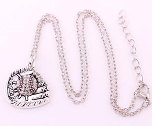 앤틱 슬리버 도금 반짝이는 크리스탈 BASEBALL 또는 초경합금과 장갑 Sporty Charm Link Chain Necklace