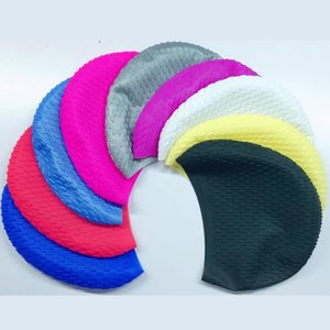 Multicolor Silicone Swimming Hat Cover Protect Ear Long Hair Waterdrop Swimming Caps