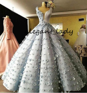 Dusty Blue Ball Gown Pricess Prom Dresses 2018 Modest 3D Floral Handmade Flower Ruffles Puffy Dubai Arabic Evening Pageant Dress