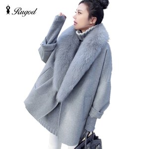 Elegante Frauen Winter Wolle Mäntel Pelzkragen Plus Größe Grau Warme Lose Wollmantel Mode Verdicken Lange Jacken casaco feminino