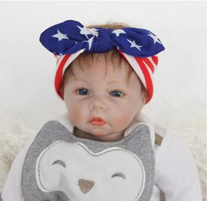 미국 국기 머리 띠 7 월 독립 기념일 4 일 어린이 머리 장식 매듭 된 토끼 귀 머리띠 DHL 무료