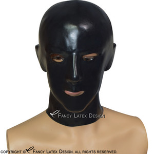 Black Anatomical Latex Hoods With Zipper At Back Open Nostril Mouth And Eyes Rubber Masks 0182