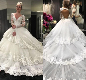 Amazing Lace Applique Layers Wedding Dresses 2019 Long Sleeves Open Back Tulle Sweep Train Bridal Gowns Custom Made Wedding Dresses