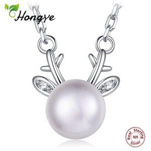 Hongye Femmes Perle Collier Réel 925 Argent Pendentifs Naturel D'eau Douce Blanc Perle Collier Fauve Fine Bijoux pour femme Mariage