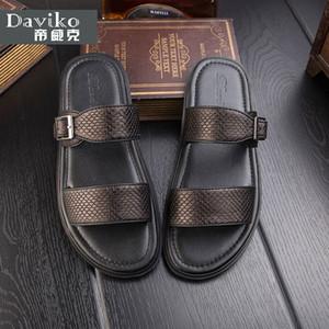 Station européenne été nouvelles sandales romaines hommes britanniques pantoufles en peau de cuir en cuir tendance à préparer des sandales chaussures de plage RL317
