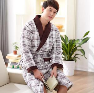 New Male Sleeping Dress Yukata Uomo Roupao De Banho Bademantel Herren Pyama Mannen Vestaglia Uomo Accappatoio Peignoir Homme