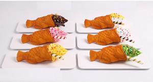 Ice Cream Cone имитационная модель Big Mouth рыбы Shaped Вафли Sample Десерт Окно дисплея Вафельные украшения Пищевые Принадлежит