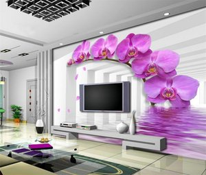 Study Room Wallcoverings Modern-style Violet Flower Tamaño personalizado 3D Photo Wallpaper Telón de fondo Murales estereoscópicos Wall Paper Roll