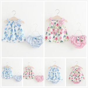 INS Hot Summer Neonate Tute Flower Butterfly Stampa Big Bow Sling Vest + Slip a righe Sets Cute Baby Girls Abbigliamento 1-4T