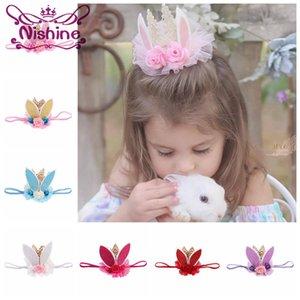 Nishine nueva primavera y Pascua flor de la corona diadema oídos del conejito para niños niñas Corona En primer regalo de cumpleaños del cordón del