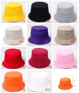 Katı renk Bere Kapaklar Açık şapka Çocuk ızgara Kova Şapka Rahat Çiçek Güneş Baskılı Havza Tuval Topee çocuklar balıkçı Bebek kapaklar M979