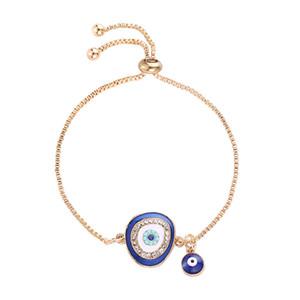 Color oro malvado pulseras diapositivas cadenas de metal brazaletes para mujer cristal encanto pulsera ajustable joyería de mano accesorios