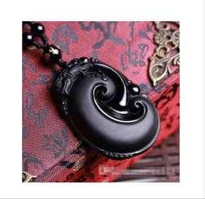 Wholesale - Obsidian pendant natural jade couple models men&039;s necklace female lucky wealth evil wish transport