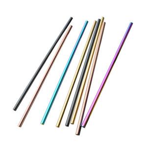 304 Colorido Acero Inoxidable Paja Reutilizable Beber Doblado Recto Metal Paja Té Herramientas de café Diseño de paja