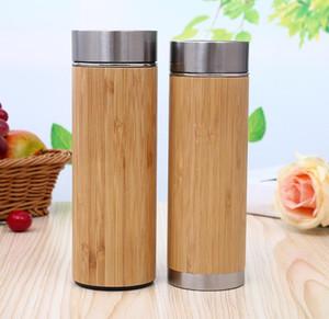 Logo personnalisé! Tasse en acier inoxydable isolé sous vide avec bouteille d'eau en bambou créatif avec couvercle Tasse en bois en bois coupe droite SN590