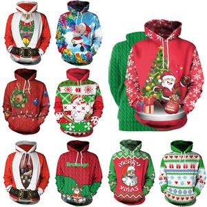 Sudaderas navideñas Árbol de Navidad santa Clus Impreso Blusa de manga larga Sudadera con capucha Camiseta casual Jerseys ropa para el hogar GGA1257