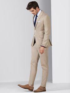 Erkekler Suits 2018 Yaz Bej Custom Made Düğün Suit İş Damat Groomsmen Smokin Balo Slim Fit Casual Sağdıç Blazer Ceket + Pantolon