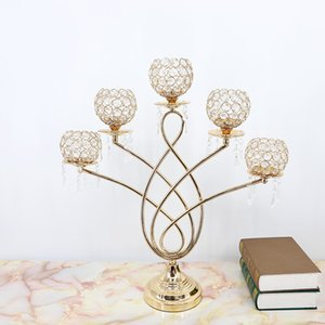 New arrival selling best 63cm height 5-arms candelabra with flower bowl in the middle center for weddings or events