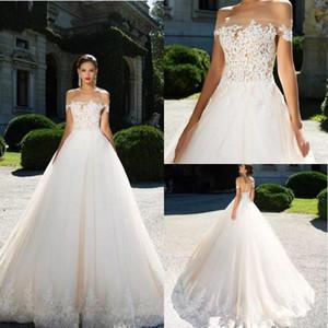 Скромная плеча мантии шарика Свадебные платья Аппликация Кружева Свадебные платья сшитое длинное платье невесты