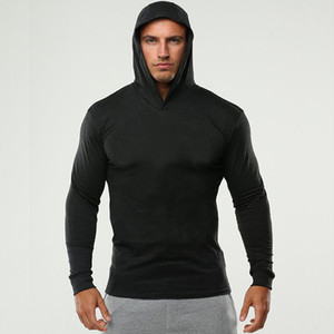 Hot Sale Size M to 2XL Men's Solid Fitness Sports Hoodies Sweatshirts For Men Slim Breathable Hooded Sweatshirts
