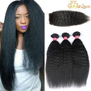 Peruano recto rizado cabello humano teje Con encierro de la tapa del color natural grueso Yaki del pelo humano de la Virgen extensiones de cierre de encaje con