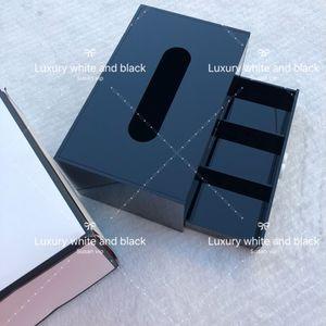 herramienta del caso clásico de acrílico Negro CC 2 capas de maquillaje cosmético caja de pañuelos Regalo de la joyería de almacenamiento de Navidad