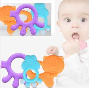 Bebé caricatura de silicona mordedor de la palma dentición juguetes Grado Alimenticio Bebé Cuidado Dental Seguridad Teether 9 DISEÑO KKA4052