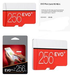NEGRO EVO PLUS + 64GB 128GB 256GB TF Tarjeta de memoria flash Clase 10 Free SD Adaptador Minor Minor Blister Paquete EPACKET DHL Envío gratis