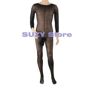 Collants corps unisexes transparents taille libre corps sexy hommes ouvert gaine gaine serré bas entrejambe fermer S1017