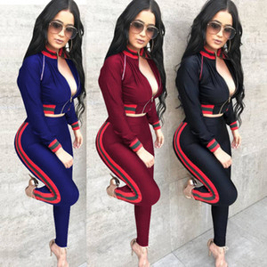 Tute sportive da donna 3 tute stampate a righe colorate da night club con maniche lunghe da donna