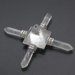 Kraft-beads Silver Plated Natural Rock Crystal Pyramid Square Hexagon Power Energy Transmitter Colgante Joyería de moda