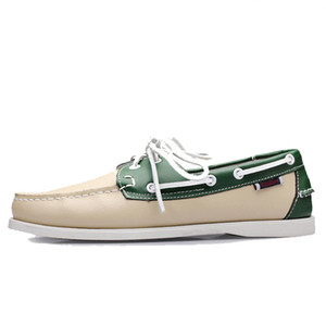 2019 Men's Boat Shoes Fashion Handmade Male Moccasins Shoes High Quality Genuine Leather Shoes 4#17E50