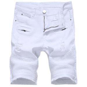 Mens del verano pantalones cortos de mezclilla delgada longitud de la rodilla cortas ocasionales de los vaqueros del agujero Pantalones cortos para hombres rectos de las Bermudas Masculina Blanco Rojo Negro