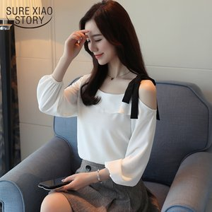 new arrived 2018 spring blouse women long sleeve shirt female chiffon shirt fashion solid bottoming clothing tops D436 30