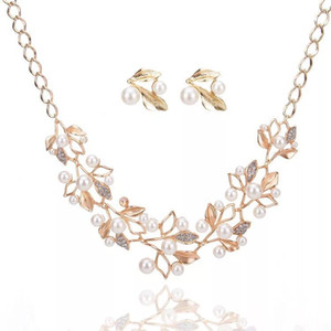 Crystal Bridal Jewelry Set gold plated necklace diamond earrings Wedding jewelry sets for bride Bridesmaids women Bridal Accessories